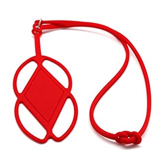 Amamary Silicone Lanyard Case Cover Holder Sling Necklace Wrist Strap For Cell Phone (red)