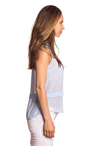 Abbino 6410 Unifarbenes Top mit Knopfleiste Tops Damen - Made in Italy - 1 Farbe - Übergang Frühling Sommer Herbst Damentops Sexy Sportlich Freizeit Elegant Sale Unifarbe Trend Fashion Flexibel Blau