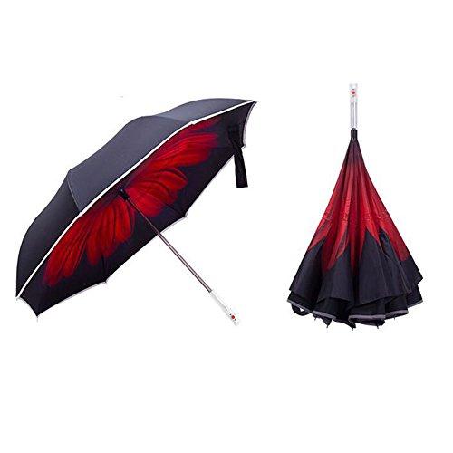 Alaojie Umgekehrte Regenschirm-Reise-Rückseiten-faltende Regenschirm-Auto-Warnung mit Taschenlampe