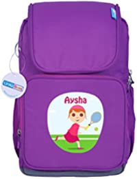 UniQBees Personalised School Bag With Name (Active Kids Medium School Backpack-Purple-Tennis 2)