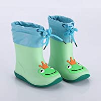 LYXFZW,Rain Boots For Kids,girls,Rubber Wellington Boots Soft Socks Lining Waterproof Non-Slip Children Boys Easy Clean For School Green Frog Cute Removable Outdoor Garden Fashion