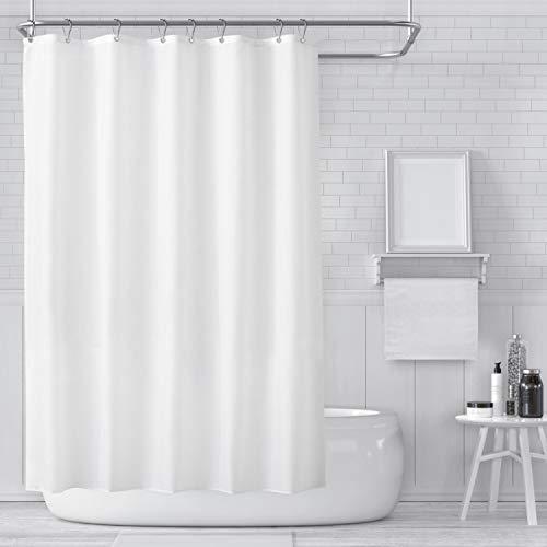 Carttiya Duschvorhänge, Textil Bad Vorhang aus Polyester, Anti-Schimmel, Wasserdichter, Waschbar Stoff Badezimmer Vorhang mit 12 Duschvorhängeringen und Beschwertem Saum