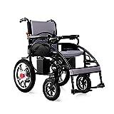MinMin Behinderter älterer Vierrad-Sorgfalt-faltender Leichter intelligenter Rollstuhl, Last 150kg, EABS-Bremssystemgröße: 113 * 65 * 91cm Medizinische Ausrüstung (Color : Lithium Battery 12A) -