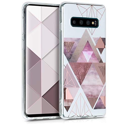 kwmobile Samsung Galaxy S10 Hülle - Handyhülle für Samsung Galaxy S10 - Handy Case in Glory Dreieck Muster Design Rosa Rosegold Weiß