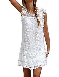 StyleDome Donna Vestito Pizzo senza Maniche Moda Abito Corto Girocollo Sexy Casual Elegante Sottile T-shirt Top