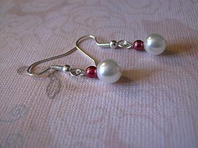 Boucles d'Oreilles Blanc (dispo ivoire) rouge bordeaux grenat (p robe de) Mariage/Mariée/Soirée/Cérémonie/Cocktail perles clips possible pas cher petit prix