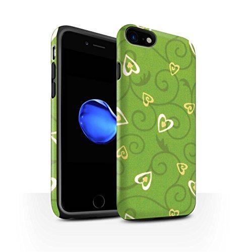 STUFF4 Matte Harten Stoßfest Hülle / Case für Apple iPhone 8 / Lila/Blau Muster / Herz/Rebe Muster Kollektion Gelb/Grün
