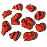 ALPIDEX 10 L/XL Klettergriffe im Set Henkel und Leisten mit Charakter, ergonomische, kantenfreie Oberflächen, guter Grip, setzbar auch ALS Zangen oder Sloper, Farbe:Power Red