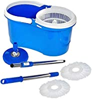 Majron Spin Bucket Mop with 2 Refills- Super Absorbent Refills for All Type of Floors, 360 Degree Spin Bucket,