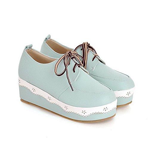 VogueZone009 Damen Weiches Material Schnüren Rund Zehe Mittler Absatz Pumps Schuhe Blau