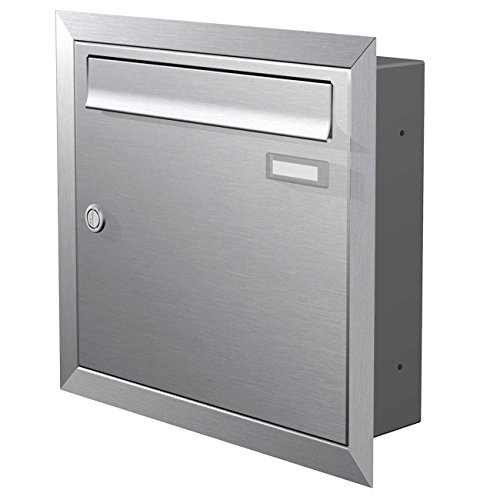 Max Knobloch Edelstahl Unterputz-Briefkasten (12 Liter) Einbaubriefkasten