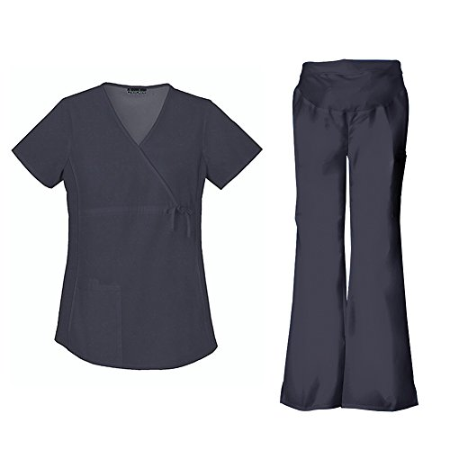 Cherokee Flexibles Maternity Mock Wrap Top 2892 & Flare Pant 2092 Scrub Set - Cherokee Empire-taille-top