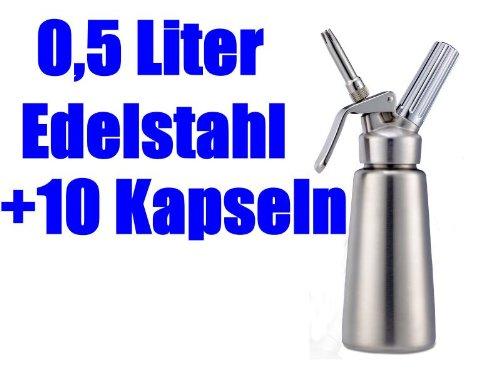 MOSA Sahnebereiter Sahnegerät 0,5 l aus Edelstahl mit 10 Sahnekapseln