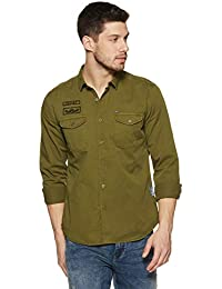 Amazon Brand - Inkast Denim Co. Men's Solid Slim Fit Full Sleeve Cotton Casual Shirt