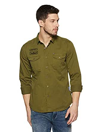 Amazon Brand - Inkast Denim Co. Men's Solid Slim Fit Full Sleeve Cotton Casual Shirt (IN-S-02A_Olive_Small)