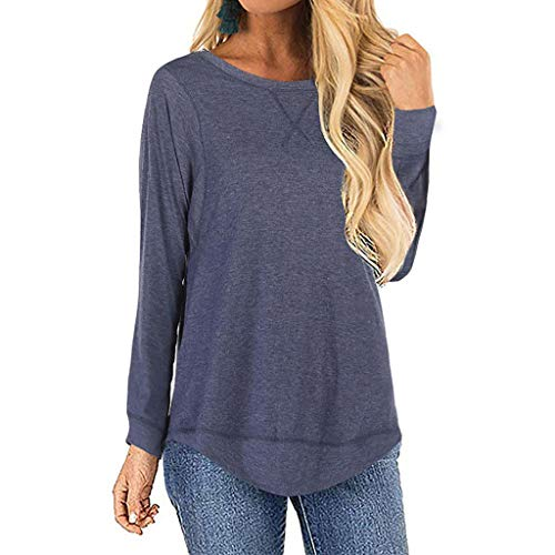 Damen Pulli Langarm T-Shirt Rundhals Lose Bluse Langarmshirts Hemd Pullover Casual Wrap Front Sweatshirt Oberteil Basic Tops Shirts