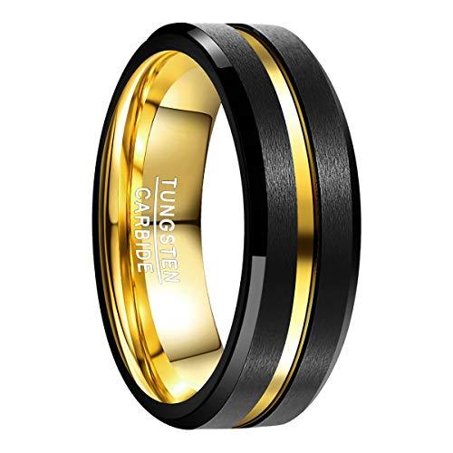 Natur Fashion - Ring Herren Damen Schwarz Gold 8MM mit Goldenem Groove aus Wolframcarbid Matt für Hobby Hochzeit Trauung Versprechen Party Dating Größe 62 (19.7) - Ring Gold Versprechen Herren
