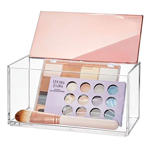 mDesign große Kosmetikbox mit Deckel - ideale Make-up Aufbewahrung für das Bad oder den Schminktisch - praktische Schminkaufbewahrung für Lippenstift, Concealer & Co. - durchsichtig und rotgold