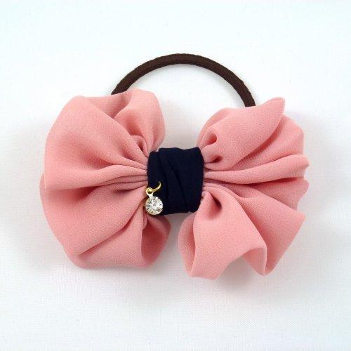 rougecaramel - Elastique cheveux ou bracelet nœud - rose & bleu marine