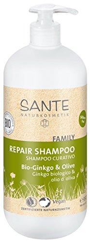 SANTE Naturkosmetik Kur Shampoo Bio-Ginkgo und Olive, 950ml Familiengröße mit Pumpspender, Belebt müdes & strapaziertes Haar, Haarpflege ohne Silikon und Parabene, Vegan