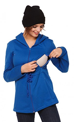Happy Mama. Femme sweat-porte-bébé maternité allaitement insérer amovible. 039p Bleu Royal