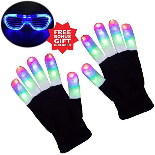 nder Finger Light Flashing LED Warme Handschuhe mit Lichtern für Geburtstagslicht Show Party Weihnachten Xmas Dance Extra eine LED-Brille für mehr Spaß ()