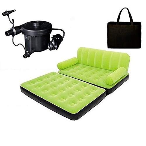 Sask ROM Aufblasbares Bett Grün, Luftmatratze Mit King-Size-Bett, Strukturierte I-Beam-Technologie, 188 * 152 * 64 cm, 220 V,Blue