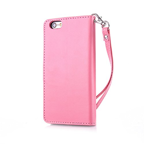 iPhone 6 Coque, iPhone 6S Coque, Lifeturt [ Rouge ] Coque Dragonne Portefeuille PU Cuir Etui en Cuir Folio Housse, Leather Case Wallet Flip Protective Cover Protector, Etui de Protection PU Cuir Porte E02-Rose