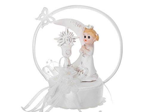 Feste Feiern zur Kommunion I Betendes Mädchen Torte Tisch Deko weiß I Großer Bogen mit Mond und Schmetterling