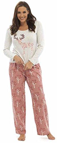 Lora Dora Damen Schlafanzug Large Deer - Grey Top/Pink Pants