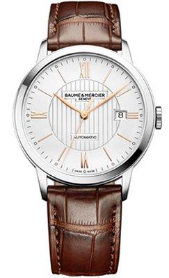 Baume et Mercier BMM0A10263 Montre automatique avec cadran en acier argenté et bracelet en cuir