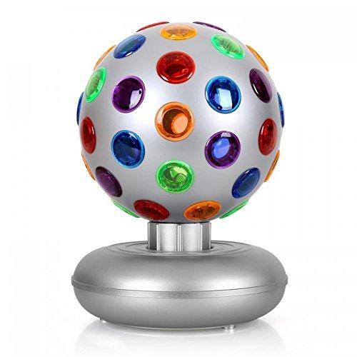 oneConcept Disco Ball • Party Discokugel • Leuchtkugel • Lichteffekt • 7 Watt 16 cm Durchmesser • 46 bunte Linsen • rotierendes Party-Licht • orange, blau, rot, grün, lila • Netz-Betrieb • silber