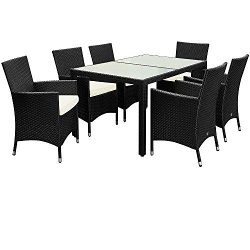 Poly Rattan Sitzgruppe 6+1 mit stapelbaren Stühlen Sitzgarnitur Gartengarnitur Gartenset - 8