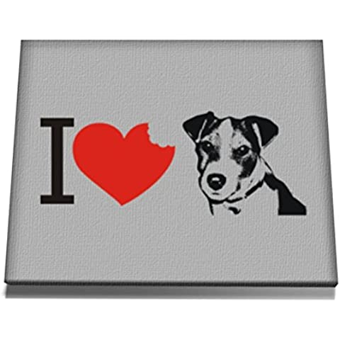 Teeburon I love Jack Russell Terrier SIlhouette Tela muro arte 12 x 8 Inch