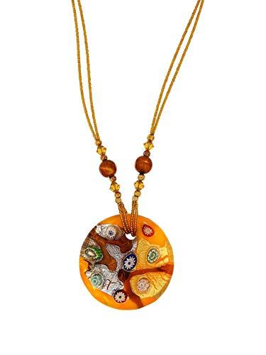 Venetiaurum - Collana donna con pendente in vetro originale di Murano e in Argento 925 - Gioiello made in Italy certificato
