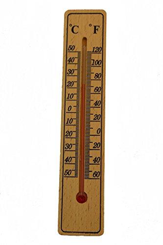 Gluecksshop Holz Thermometer in Celsius und Fahrenheit gemessen 20 x 4 cm für Innen und Aussen - +/- 50 Grad