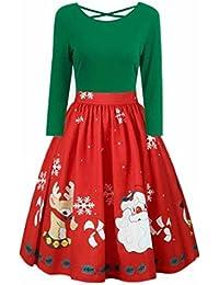 4719823d8b7 Bekleidung Vovotrade Weihnachten Kleid Damen Ärmellos Rockabilly Kleid mit  Weihnachtsmann Festlich Kleid für damen Swing KleidDamenmode
