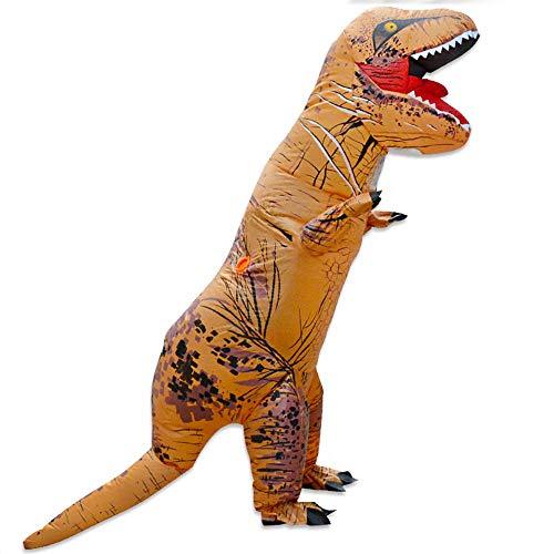 MIMI KING Dinosaurier Aufblasbare Kostüm Halloween Cosplay, Tyrannosaurus T-Rex Cosplay Für Erwachsene,Brown
