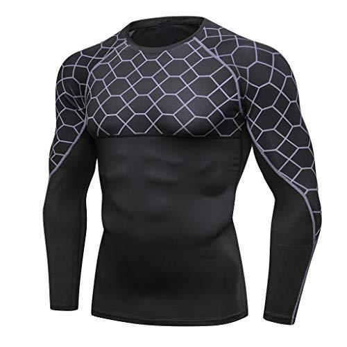 (Fenverk Ultra Cool T-Shirt Herren Sportlich Sport Oben Zum Laufen Radfahren Fitnessstudio Trainieren Kompression Ausbildung Muskel Fest Panzer Tops Mann Gamaschen Fitness Yoga Hemd(Grau,L))