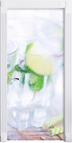 Mojito-Gläser mit Minze Kunst Buntstift Effekt als Türtapete, Format: 200x90cm, Türbild,...
