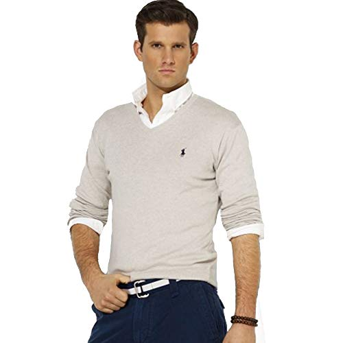 Ralph Lauren Jersey Pima V-Neck Slim Fit (L, Gray)