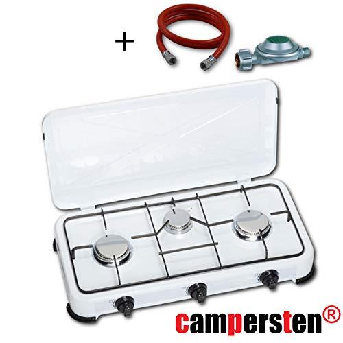 campersten Gaskocher Campingkocher Propangas Gas Kochfeld 3-Flammig in Weiß ... (Mit 150cm Anschlussschlauch mit Druckregler) -