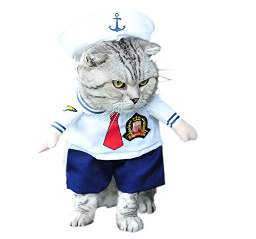 DELEY Pet Cane Gatto di Halloween di Natale Cosplay Party Fancy Dress Costume Uniforme Vestiti Marinaio L