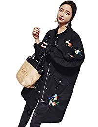 Chaquetas Mujer Vintage Fashion Manga Larga Bordados Fiesta Elegantes Primavera Otoño Abrigos Informales Anchos Baseball Outerwear