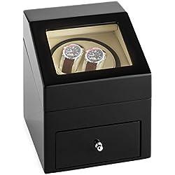 Klarstein Monte Carlo Uhrenbeweger für 2 Automatik-Uhren (Rechts-Links-Lauf ,4 Bewegungsmodi, Schublade mit 3 Aufbewahrungs-Kissen, Batterie- und Netz-Betrieb) schwarz