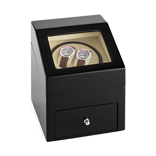 Klarstein Monte Carlo Uhrenbeweger Uhrendreher Uhrenbox Uhrenkasten (für 2 x Automatikuhr, Links-Rechts-Lauf, 4 Modi, Samtkissen, Sichtfenster, Akku-Betrieb, Kunstleder) schwarz