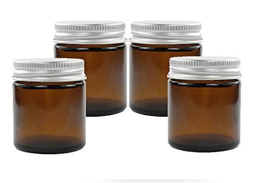 30ml Bernstein Glasdosen mit Silber Aluminium EPE Liniert Deckel (4er packung). geeignet für Aromatherapie, Cremes, Softgel, Seren, Wachs, Salben, Erste Hilfe usw.