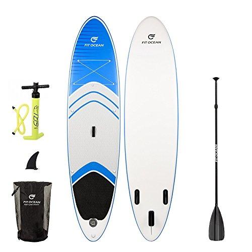 FIT OCEAN MAGIC GLIDE 10\'8. Aufblasbares 15 cm dickes Stand Up Paddelboard. SICHERES STEHEN UND SUPER AUFTRIEB. Inkl. Doppelhub-Pumpe, guter Rucksack. iSUP 330x81x15cm M (Board+ALU Paddel+Doppel Action Pumpe+Rucksack)