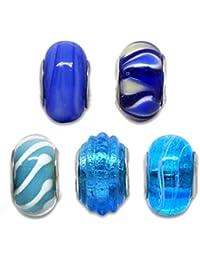 Souarts Mixte Bleu Lampwork Verre Perles Europeennes pour Bracelet Breloque Lot de 5pcs