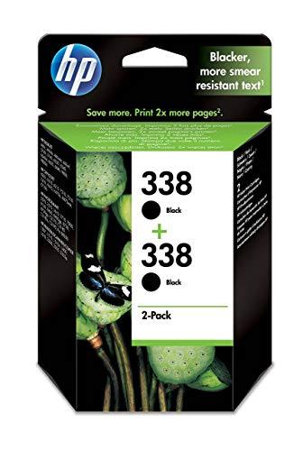 HP 338 CB331EE pack de 2, cartouche d'encre Authentique, imprimantes HP Photosmart et HP Photosmart Pro, HP PSC, HP OfficeJet et HP DeskJet, Noir